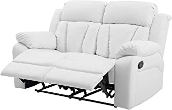 Glory Furniture Reclining Love seat, White Faux Leather