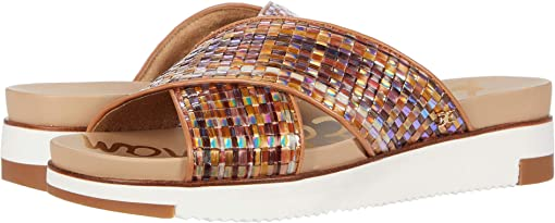 Neutral Multi Holographic Woven Raffia