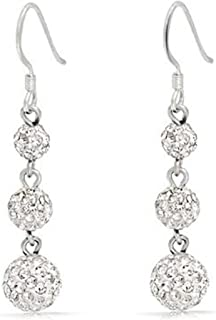 Crystal Pave Round Disco 3 Ball Linear Prom Pageant Dangle Earrings For Teen For Women 925 Sterling Silver More Colors