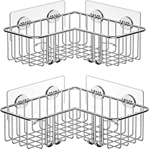 SMARTAKE 2-Pack Corner Shower Caddy, Adhesive Bath Shelf with Hooks, SUS304 Stainless Steel Storage Organizer for Bathroom, Toilet, Kitchen and Dorm, Only for 90 Degrees Right Angle