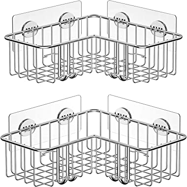 SMARTAKE 2-Pack Corner Shower Caddy, Adhesive Bath Shelf with Hooks, SUS304 Stainless Steel Storage Organizer for Bathroom, Toilet, Kitchen and Dorm, Only for 90 Degrees Right Angle, Silver