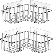 SMARTAKE Shower Caddy No Drilling Corner Bathroom Storage Shelf with Adhesive Wall Mounted SUS304 Stainless Steel Rack for...