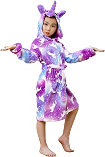 Unicorn Hooded Bathrobe Sleepwear for Boys and Girls Gifts,Bright Yellow Galaxy Unicorns Robes 8-9 Years Old