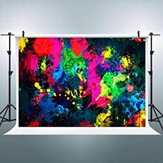 Riyidecor Neon Backdrop Colorful Graffiti Abstract Painting Photography Background 7Wx5H Feet Baby Shower Birthday Geometrical Decoration Newborn Props Party Photo Shoot Vinyl Cloth