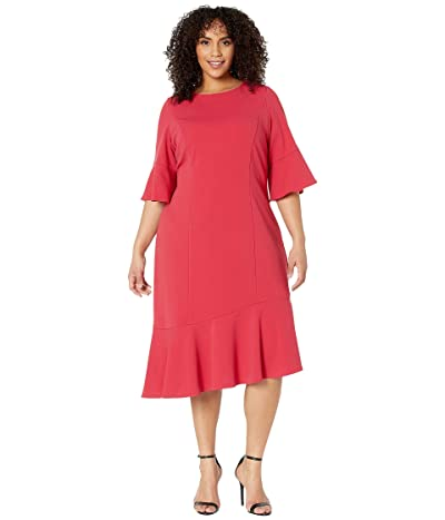 Adrianna Papell Plus Size Knit Crepe Ruffle Midi Dress w/ Bell Sleeve (Warm Cherry) Women