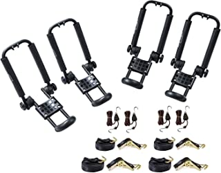 AA-Racks 2 Pair J-Bar Rack Roof Top Mount with 16 Ft Ratchet Lashing Straps & 10 Ft Ratchet Bow and Stern Tie Down Straps, Folding Carrier For Your Canoe, SUP and Kayaks on SUV Car Truck