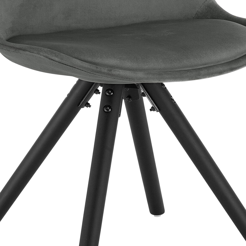 eSituro 1 X Chaise Gris Clair pour Chambre Cuisine Salon SDC0200-1,Chaise de Salle à Manger Moderne en Velours et Bois Massif Gris Foncé