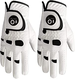 FINGER TEN Men's Golf Glove Left Hand Right with Ball Marker Value 2 Pack, Weathersof Grip Soft Comfortable, Fit Size Small Medium ML Large XL
