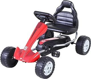 Aosom Kids Go Kart, 4 Wheel Ride on Car, Pedal Powered Ride On, Racer Toys for Boys and Girls - Red