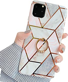 JANDM Compatible iPhone 11 Pro Max Case Marble Design Clear Bumper Soft Rubber Silicone Cover Glitter Bling Diamond Ring Stand Holder Case for iPhone 11 Pro Max-White