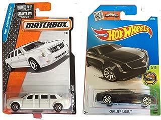 Hot Wheels 2016 Black Cadillac Elmiraj and Matchbox White Cadillac One