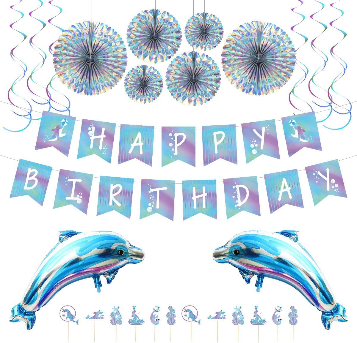 Birthday Party Decoration Dolphin Party Supplies Blue Themed Birthday Party Background Decoration Set Include Balloons, Spiral Charms, Paper Fans, Cupcake Toppers, Happy Birthday Banner Birthday Party Supplies
