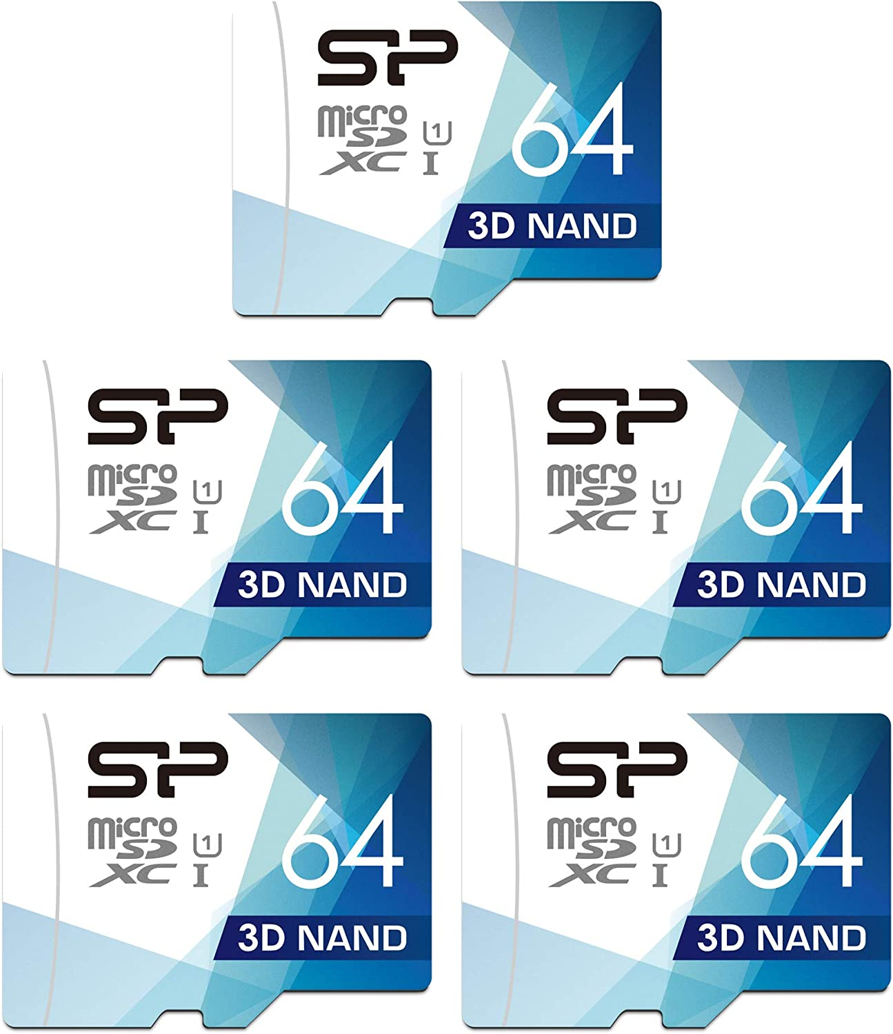 Silicon Power 64GB 5-Pack High Speed MicroSD Card with Adapter