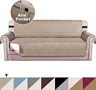 Reversible Sofa Cover, Couch Covers for 3 Cushion Couch Slipcover for Living Room, Couch Covers for Dogs, Sofa Slipcover, Couch Furniture Protector Pet Throw Cover (Khaki/Beige, Sofa)