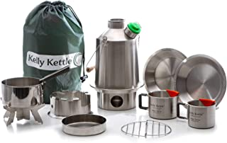 Scout 41 oz. Stainless Steel Kelly Kettle Ultimate Kit (1.2 LTR) Rocket Stove Boils Water Ultra Fast with just Sticks/Twigs. for Camping, Fishing, Scouts, Hunting, Emergencies, Hurricanes, Tornados