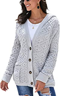 Eternatastic Women Button Up Cardigan Knit Hooded Cable Sweater Coat Outwear with Pockets