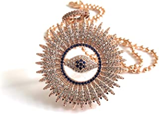 Rose Gold Plated Big Evil Eye Necklace Protection Pendant 18 Inches Chain