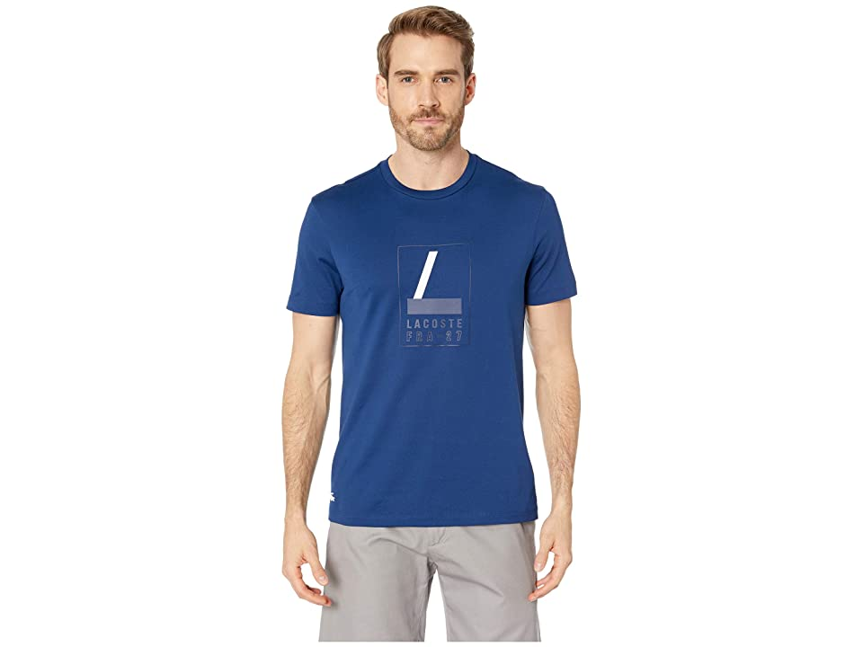 Lacoste Short Sleeve Regular Fit Heritage L Graphic T-Shirt (Inkwell) Men