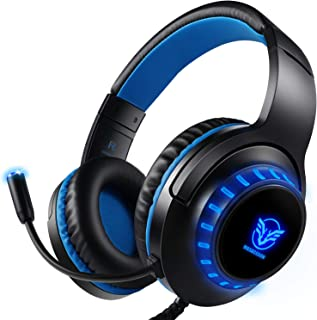 Gaming Headset for PS4 Xbox One PC, ifmeyasi Stereo Over Ear Headphones with Noise Cancelling Mic LED Light for Laptop, PC, Mac, iPad, Smartphones