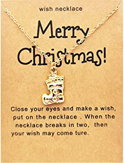 Merry Christmas Card Stocking Santa Claus Head Portraits Christmas Trees Reindeer Crutch Snowflake Collar Necklaces for Wo...