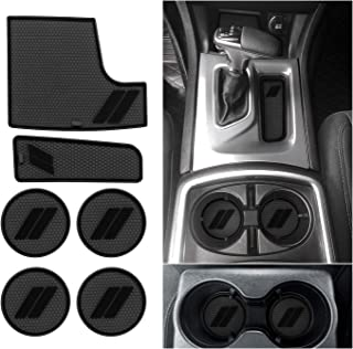 ABESTcar for Dodge Charger Cup Holder Insert 2015 2016 2017 2018 2019 2020 2021 Dodge Charger Interior Accessories Cup Door Center Console Liner (6pcs Set,Black Trim)