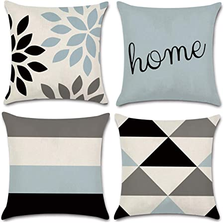 Amazon Com Jojusis Modern Geometric Throw Pillow Covers Cotton Linen Home Decor 18 X 18 Inch Set Of 4 Home Home Kitchen