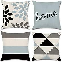 JOJUSIS Modern Geometric Throw Pillow Covers Cotton Linen Home Decor 18 x 18 inch Set of 4 Home
