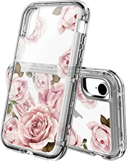 ACKETBOX iPhone Xr Cases,Heavy Duty Hybrid Impact Defender Clear Floral Design for Girls and Women Hard Three Layer Full Body Shockproof Protective Cover for iPhone Xr(Flower-07)