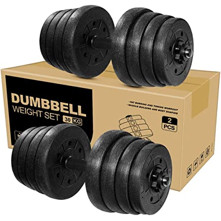 MOVTOTOP Adjustable Dumbbells Set Barbell Weight Set 66LBS-Solid Dumbbell Weights with Long Connecting Rod and Non-Slip Handle Easy-Adjusting Nut Durable Dumbbells Set for Men and Women