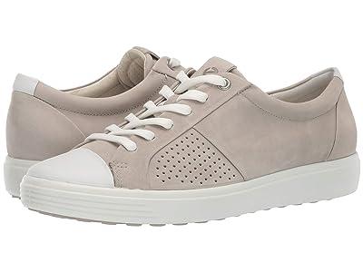 ECCO Soft 7 Cap Toe (White/Concrete Cow Leather/Cow Nubuck) Women