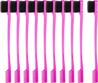 BBTO 10 Pieces Hair Edges Brushes 2 In 1 Edge Control Brushes Comb Double Sided Edge Brushes (Rose)