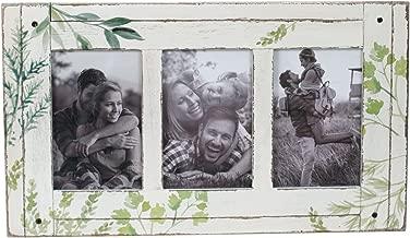 "Foreside Home & Garden FFRD06239 4"" x 6"" Three Photo Flora Frame, 3-4 x 6, White/Green"