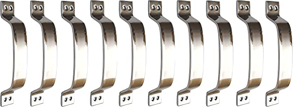 Vijaya Sales Stainless Steel Doors and Window Handle - Vertically Shaded - 5 Inch - Pack of 10