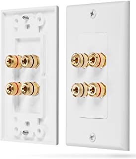 Fosmon Home Theater Wall Plate - Premium Quality Gold Plated Copper Banana Binding Post Coupler Type Wall Plate (White) (T...