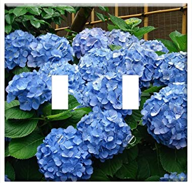 Switch Plate Double Toggle - Hydrangea Bush Flowers Blossoms Plant Blooms