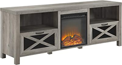 Walker Edison Calgary Industrial Farmhouse X-Drawer Metal Mesh and Wood Fireplace TV Stand for TVs up to 80 Inches, 70 Inch, Grey Wash