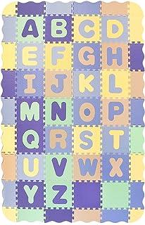 Pauwer Puzzle Floor Mat for Kids Eva Foam Play Mat 54pcs Interlocking Foam Floor Mat Tiles with Alphabet Thick Baby Crawli...