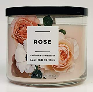 Bath & Body Works 3-Wick Scented Candle in Rose (Made with Essential Oil)