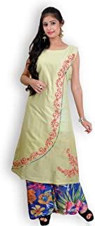 Pista Green & Blue Cotton Palazzo Suit with Chikankari