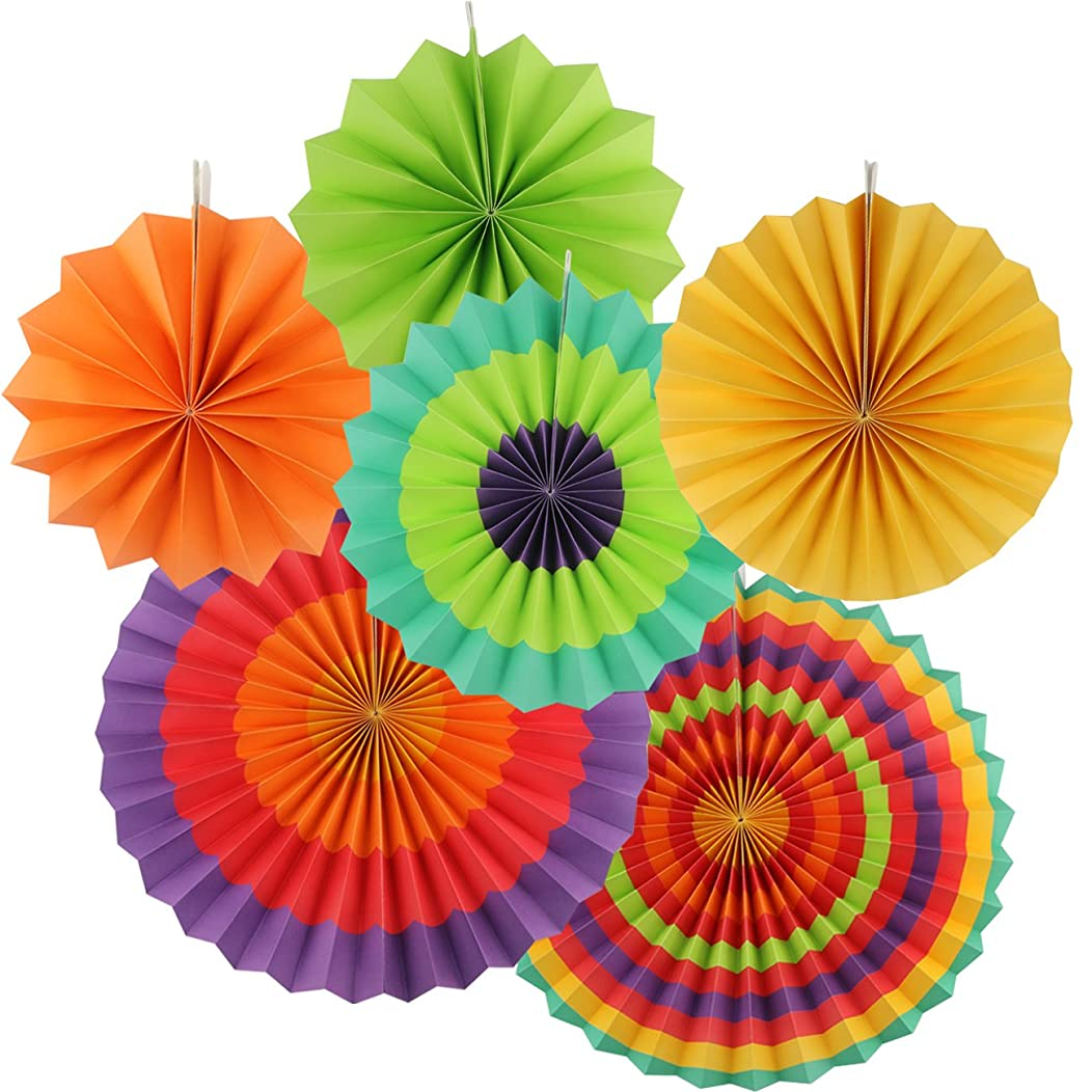 TinaWood 6PCS/SET Mixed Colors & Sizes Tissue Paper Fan/ Round Folding Fans/ Wall Hanging Fan Round Wheel Disc Southwestern Pattern Design for Birthday Party Wedding Festival Christmas Decorations (6)