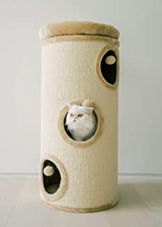 "PAWMONA 37"" 3 Story Cat Tree Condo Barrel Tower 
