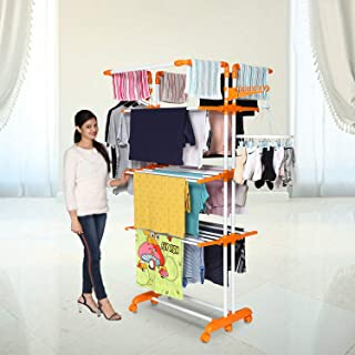 Happer Premium Double Supported 4 Layer Cloth Drying Stand with Thread Lock Mechanism and Breaking Wheels, King Jumbo (ora...