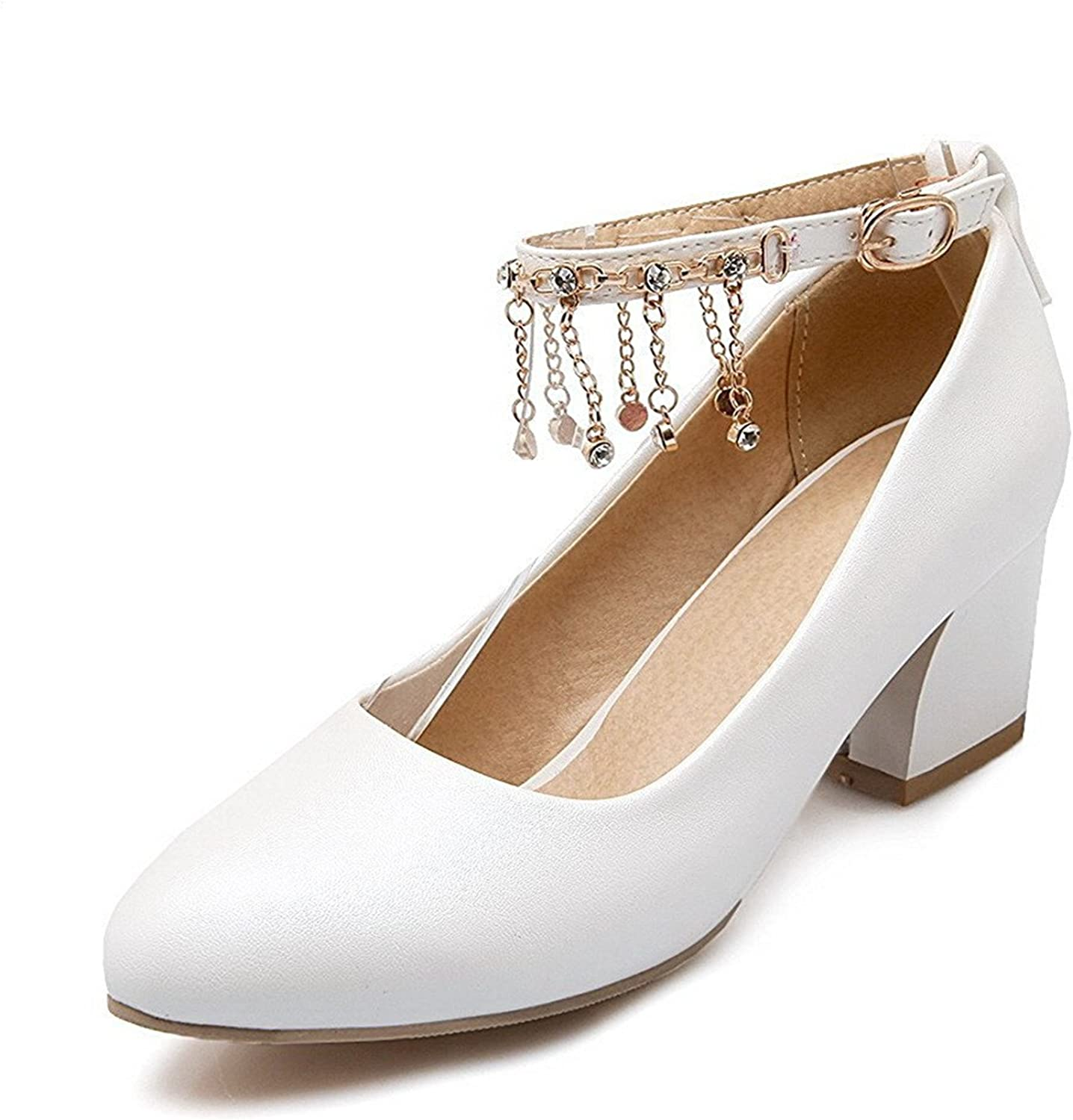 Tirahse Comfortable Women's Solid Soft Material Kitten-Heels Buckle Pointed Closed Toe Pumps-shoes