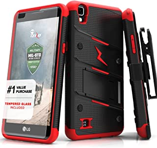 ZIZO Bolt Series LG X Power Case Military Grade Drop Tested with Tempered Glass Screen Protector, Holster, Kickstand Black RED