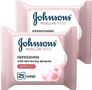 جونسون، مناديل مبللة منظفة، عناصر أساسية يومية، منعشة، للبشرة العادية 25 wipes x 2