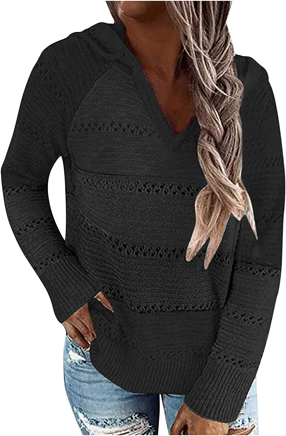 DOSUKRAI Fashion Casual Long Sleeves Hoodies for Womens V-Neck Pullover Hooded Solid Knitting Sweater Blouse
