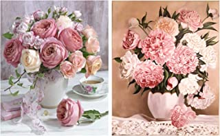 HaiMay 2 Pack DIY 5D Diamond Painting by Number Kits Full Drill Round Rhinestone Embroidery Pictures Arts Craft for Home Wall Decoration, Rose and Peony (12×16inch)