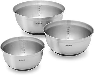 Brabantia lot de 3 bols mélangeurs, 1 Litre, 1.6 Litres et 3 Litres