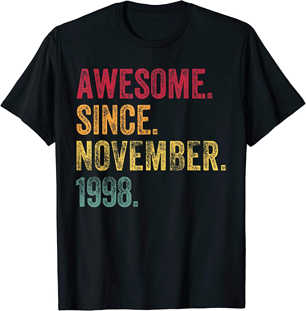 21 Years Old 21st Birthday Gifts Awesome Born November 1998 T-shirt
