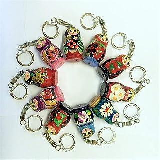 Azhna Lot 10 pcs Surprize Design Flower Style Handpainted Wooden Matryoshka Keychains 4 cm